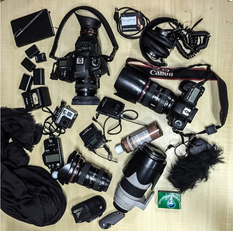 FLORIO, camera bag contents. Image @ Jason Florio